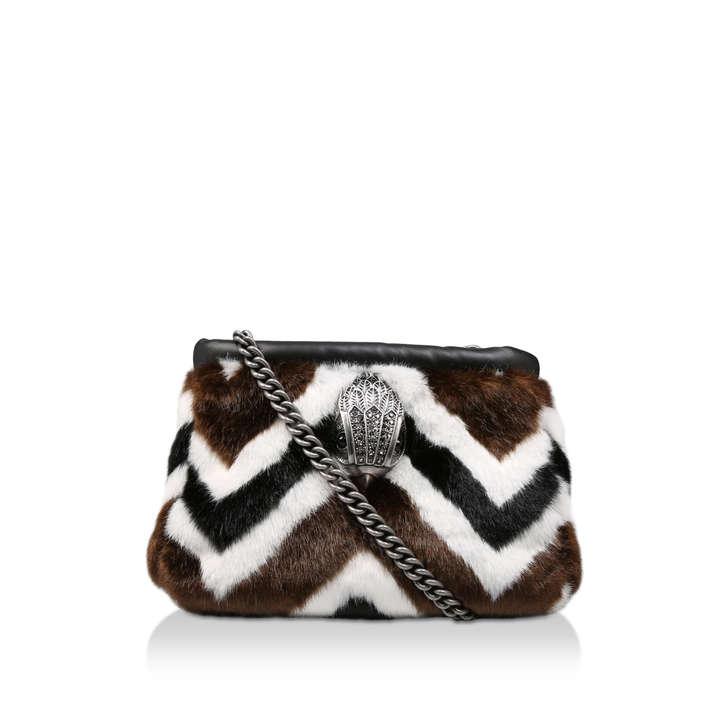 1081eafd2e F Kensington Sm Clutch Stripy Faux Fur Clutch Bag By Kurt Geiger London
