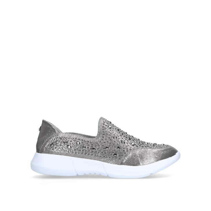 7e52723c2f1 Calya Silver Embellished Slip On Trainers By Carvela Comfort