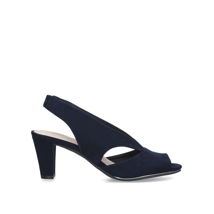 TALIA Navy Mid Heel Peep Toe Shoes by
