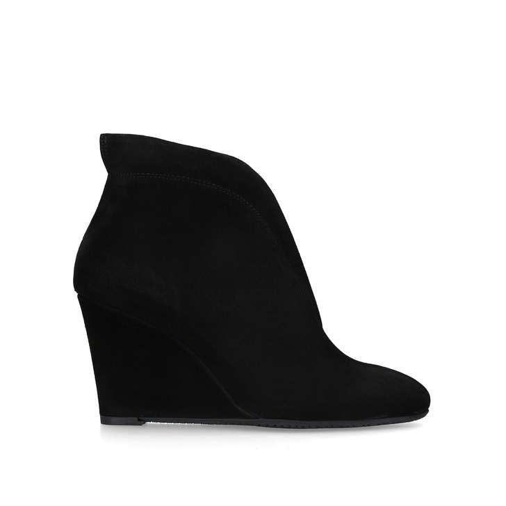 36cb80cb93dd Rally Black Suede Wedge Ankle Boots By Carvela Comfort