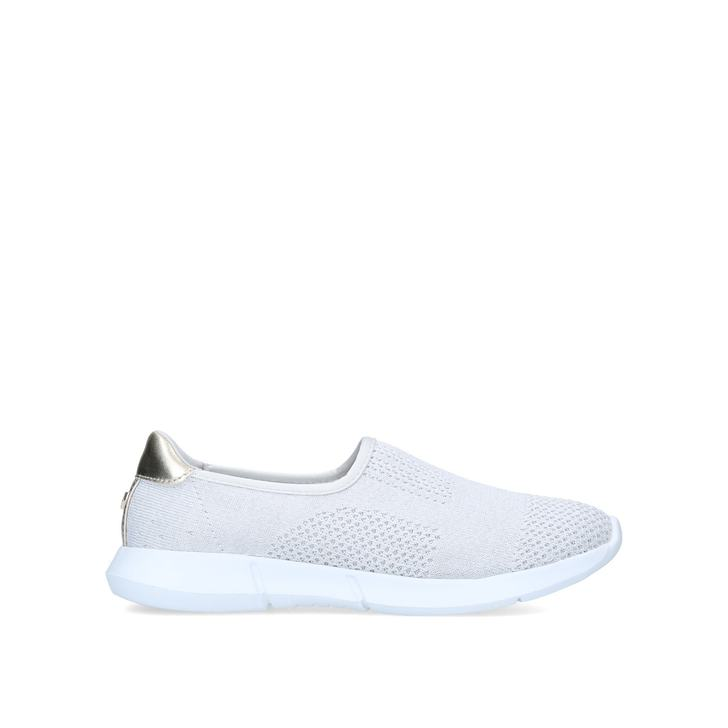 CARLY 2 Beige Knitted Slip On Trainers