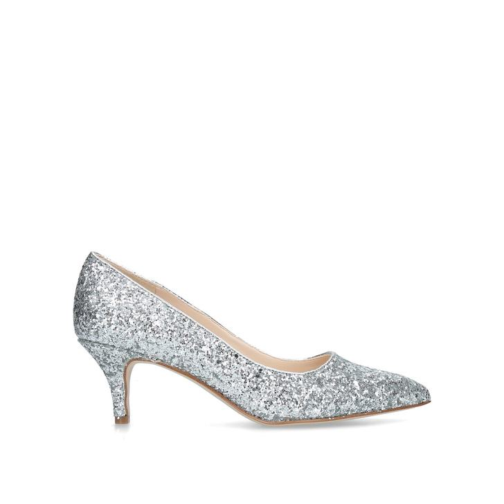 937a9ed2d20 Flagship 55 Silver Glitter Kitten Heels By Nine West
