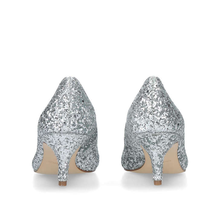 60f8a98cce62f Flagship 55 Silver Glitter Kitten Heels By Nine West | Kurt Geiger