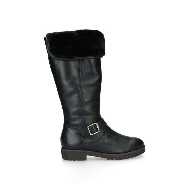 SAMBA Black Leather Faux Fur Lined Knee