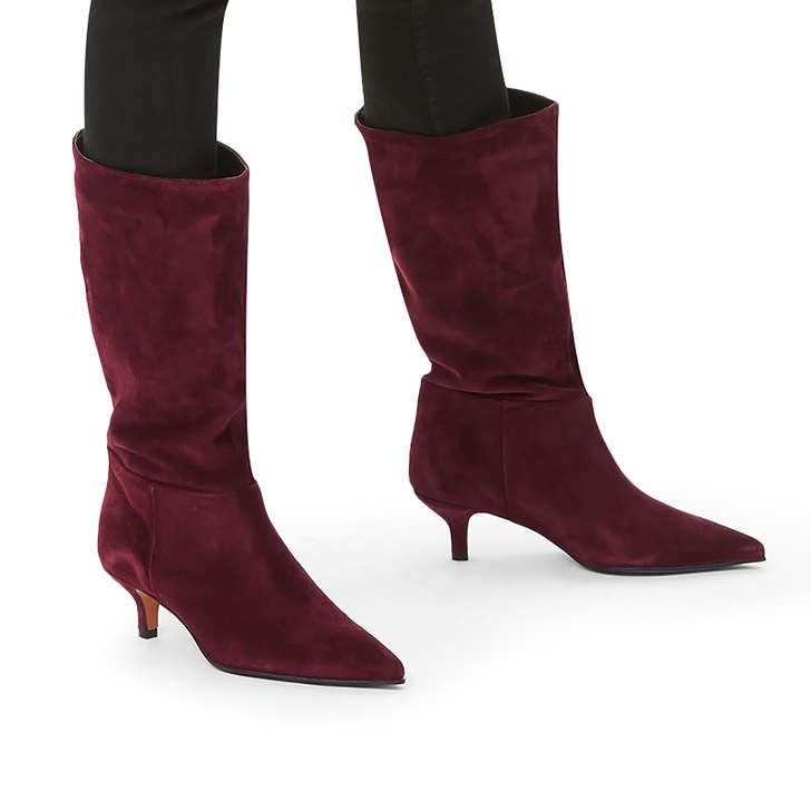 172a9a58002 Surround Wine Suede Kitten Heel Boots By Carvela