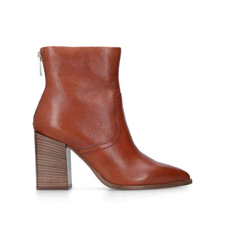 Shot Tan Block Heel Western Ankle Boots By Carvela  1876901a34