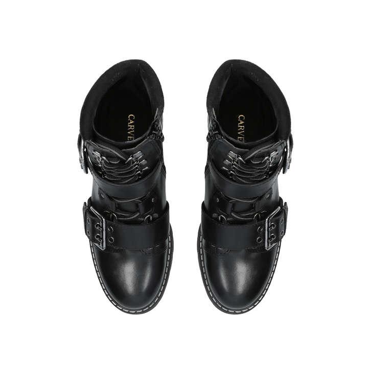 265af91a59e Saunter Black Leather Biker Boots By Carvela