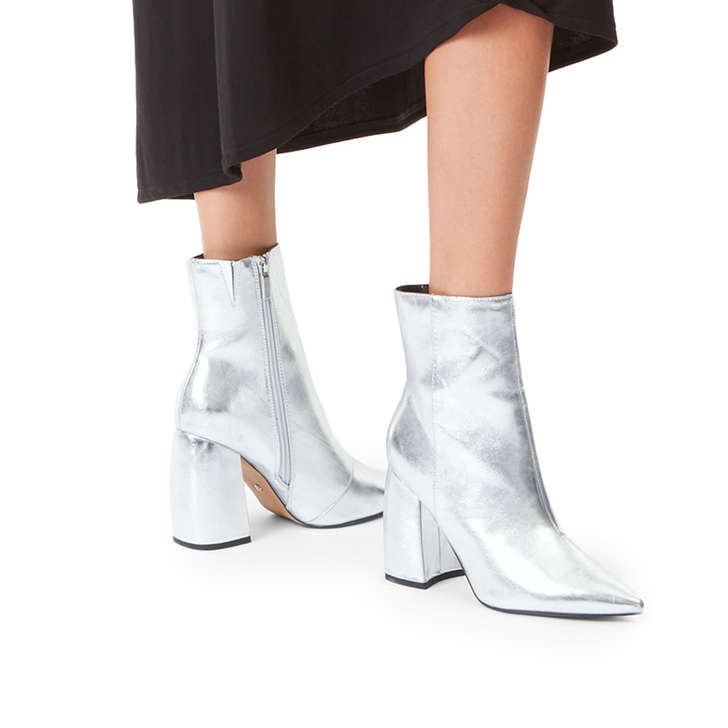 6361dae8d27 Tyra Metallic Silver Block Heeled Ankle Boots By KG Kurt Geiger ...