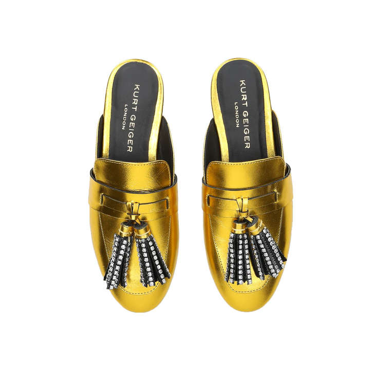 13956b63c Kaiser Crystal Metallic Gold Embellished Tassel Loafers By Kurt Geiger  London