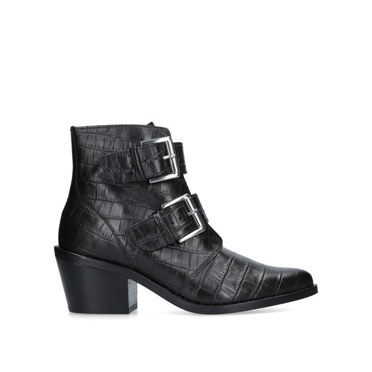 fb120fab695e4 Denny Black Croc Print Western Ankle Boots By Kurt Geiger London | Kurt  Geiger