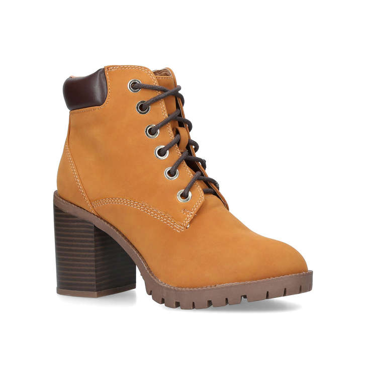 dea9b682d425 Jill Tan Block Heel Hiker Boots By Miss KG