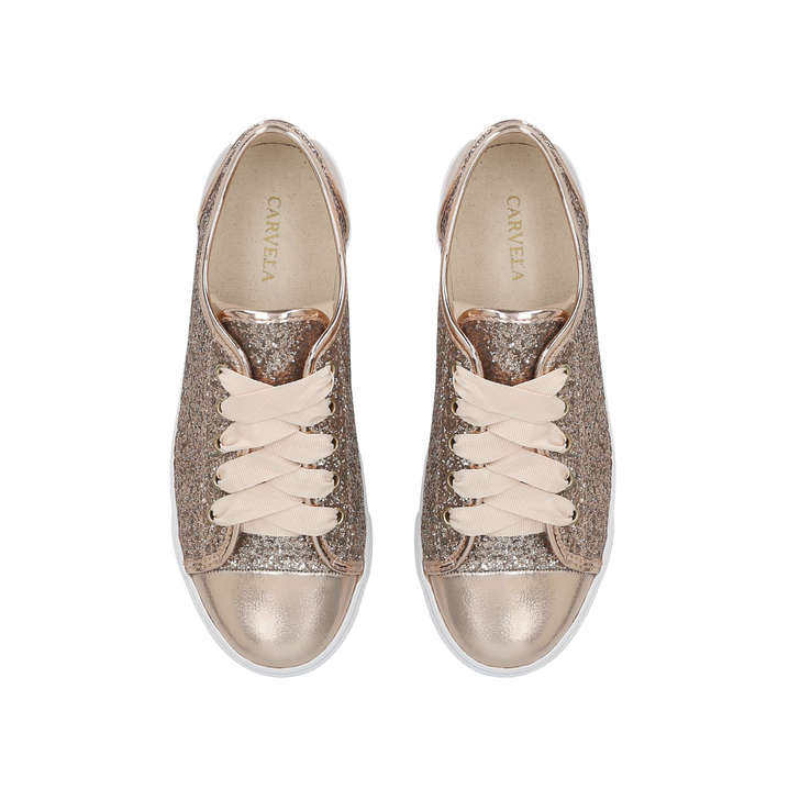 Jester Gold Glitter Low Top Trainers By