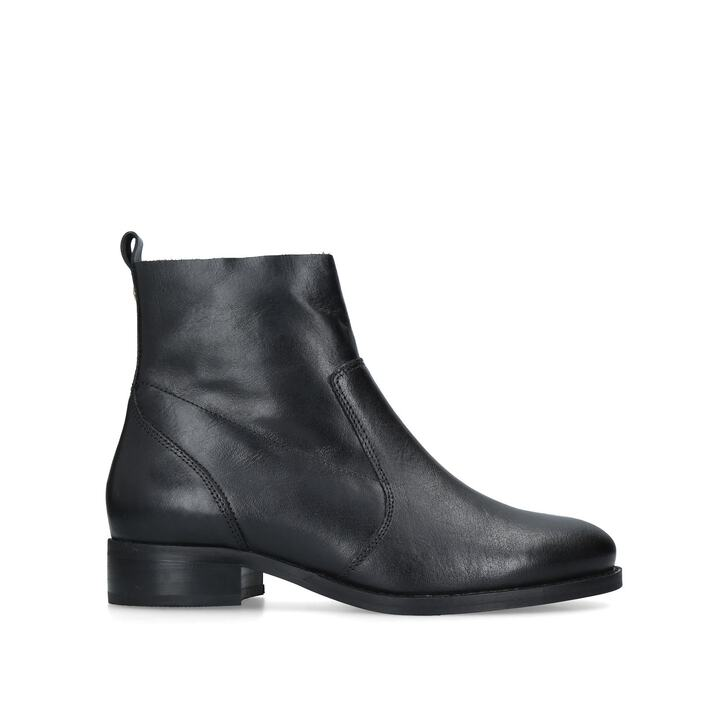 Sail Black Leather Flat Ankle Boots By