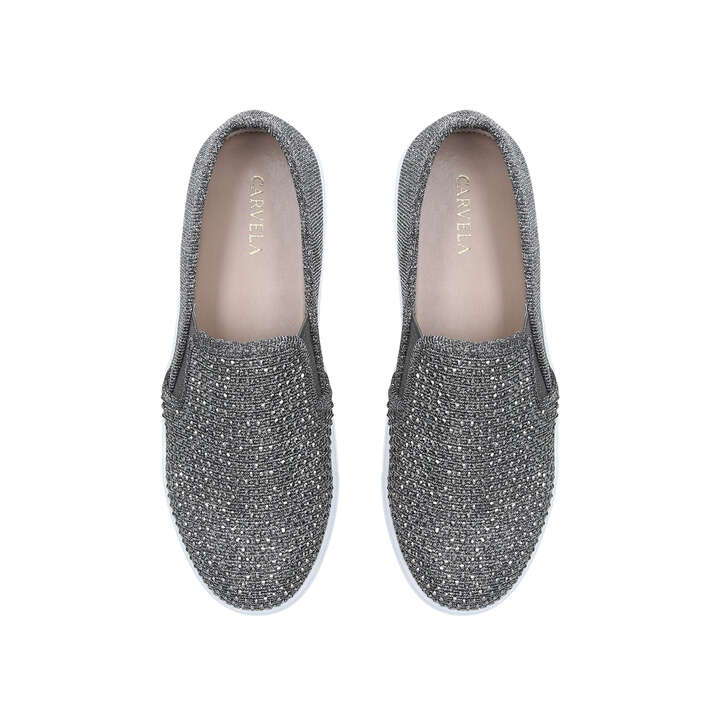 Jamm Pewter Studded Slip On Sneakers By