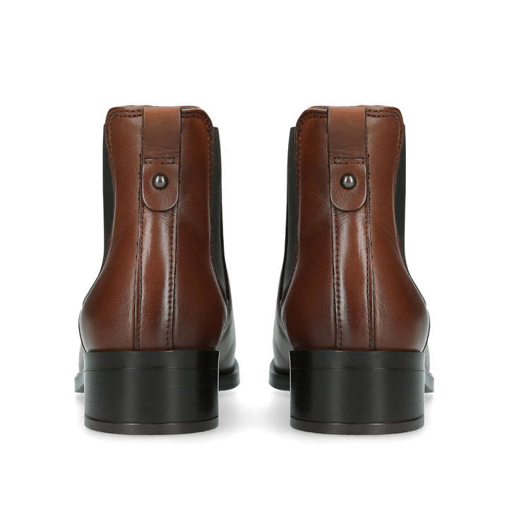 Eraylia Brown Leather Ankle Boots By