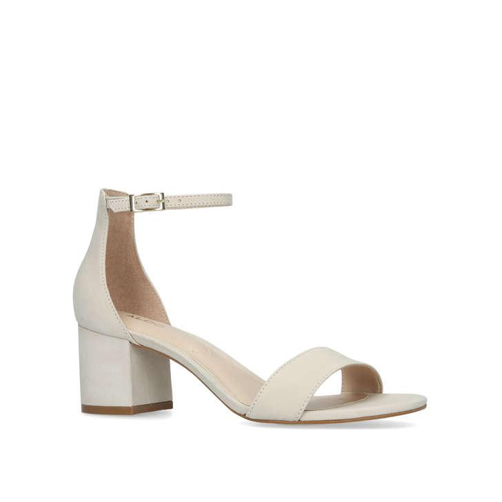 Villarosa Cream Leather Block Heel Sandals By Aldo