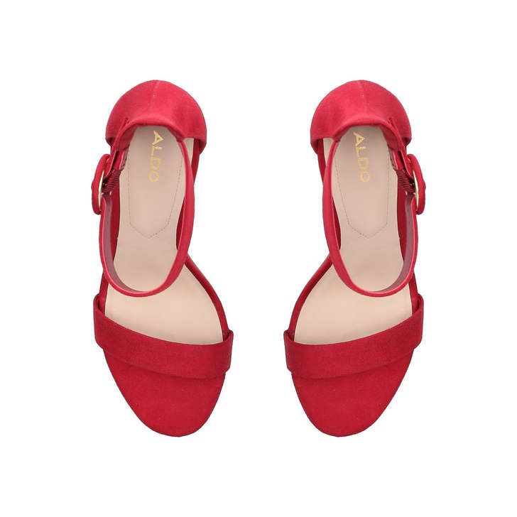 a73c0b50cf38 Yenalia Red Suede Strappy Heeled Sandals By Aldo