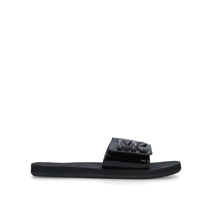 0b8c8b6d609b Mk Slide Black Patent Sliders By Michael Michael Kors