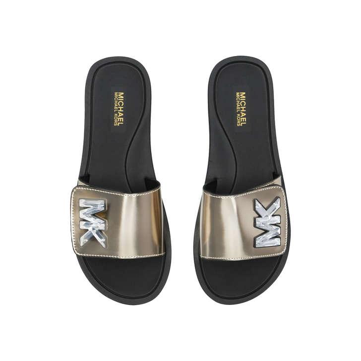 514a7e882865 Mk Slide Gold Leather Embellished Sliders By Michael Michael Kors ...