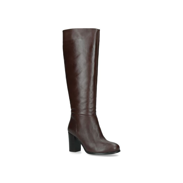 56ee0fe63c4 Exulvie Brown Block Heel Leather Knee Boots By Aldo