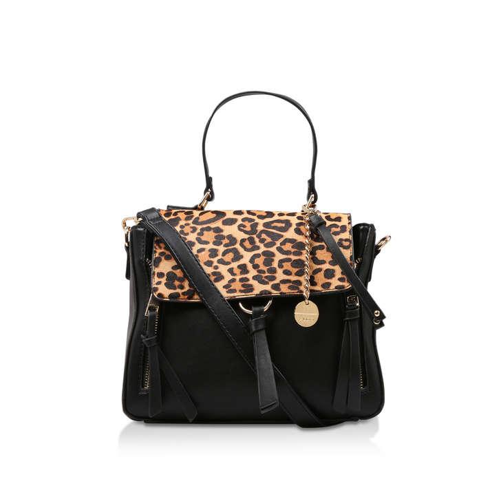 b5e156bf99dd3 Donkin Black Leopard Print Handbag By Aldo