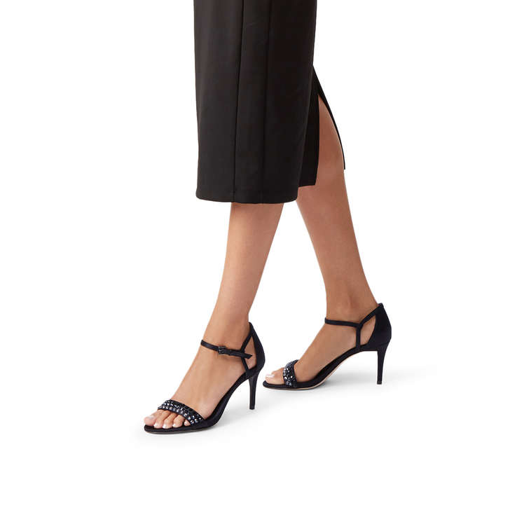 5170b5f54160 Simone Mid Sandal Black Stiletto Heeled Embellished Sandals By Michael  Michael Kors