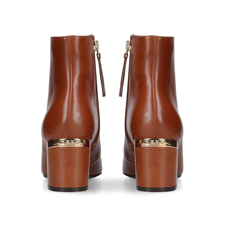 84fc7e8bf Corrie Tan Leather Block Heel Ankle Boots By DKNY | Kurt Geiger