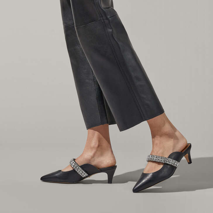 Dutchess Black Embellished Kitten Heel