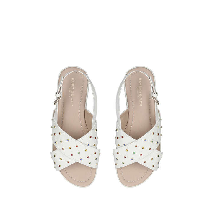 575809769 Bon Bon Gem Kids White Studded Open Toe Sandals By Kurt Geiger London