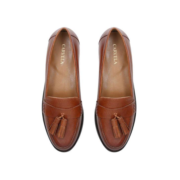 MERCURY Tan Leather Tassel Loafers by