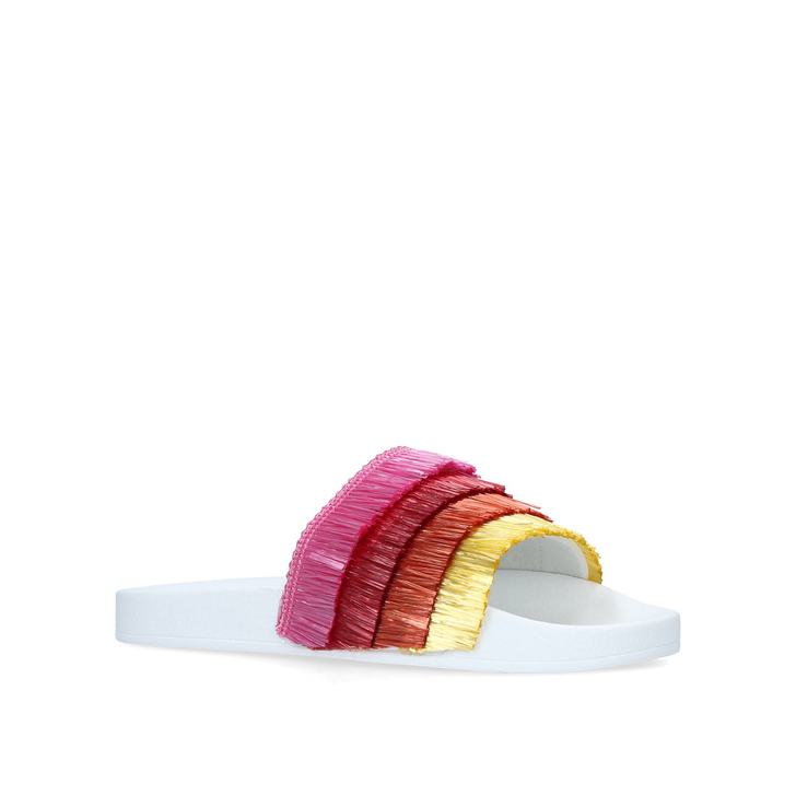 8941eba284c00 Pinata Kids Pink Tassel Sliders By Kurt Geiger London