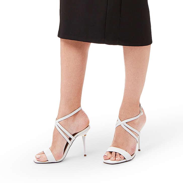 bf65f26ef556 Goldi White Strappy Stiletto Heel Sandals By Carvela