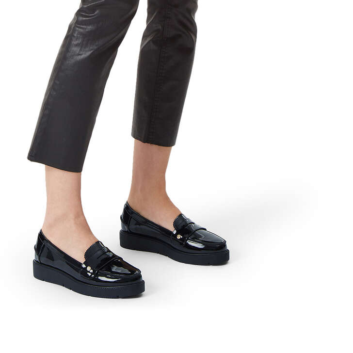 723704b07ae4 Nieve Black Patent Loafers By Miss KG