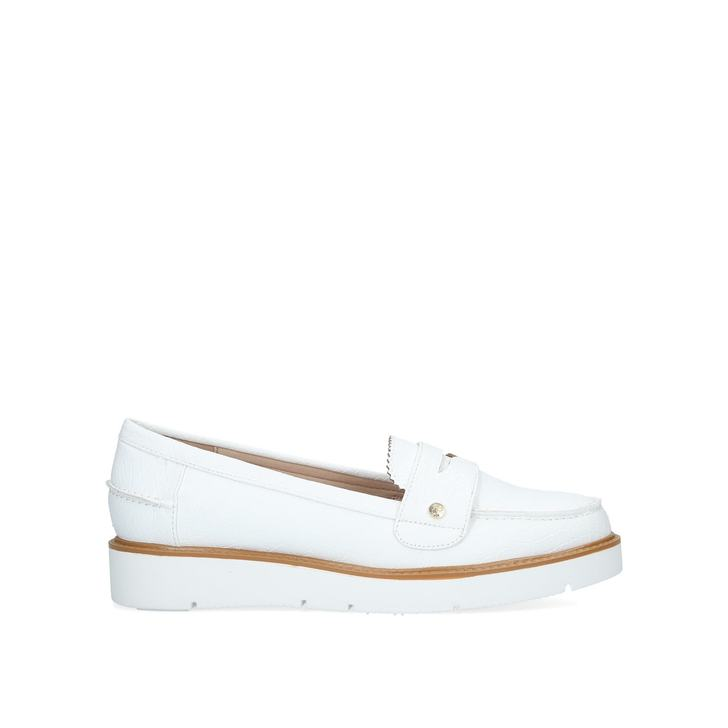 e16b9bf8c721 Nieve White Pumped Up Loafers By Miss KG