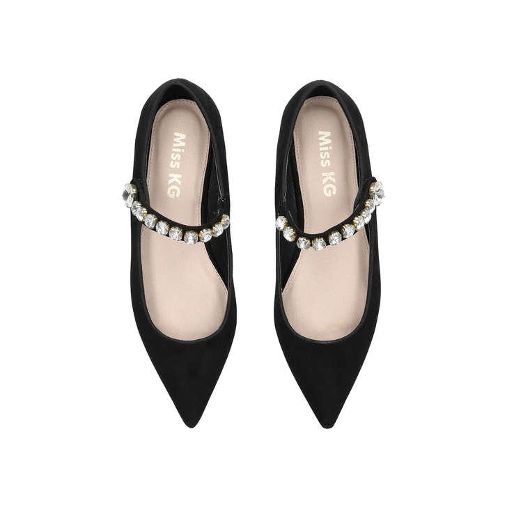 c073fc45100 Noa Black Embellished Flat Shoes By Miss KG