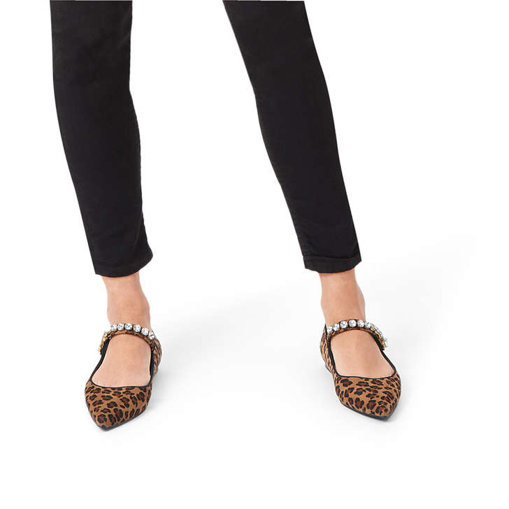 e9eaf9d19 Noa Leopard Print Embellished Flat Shoes By Miss KG