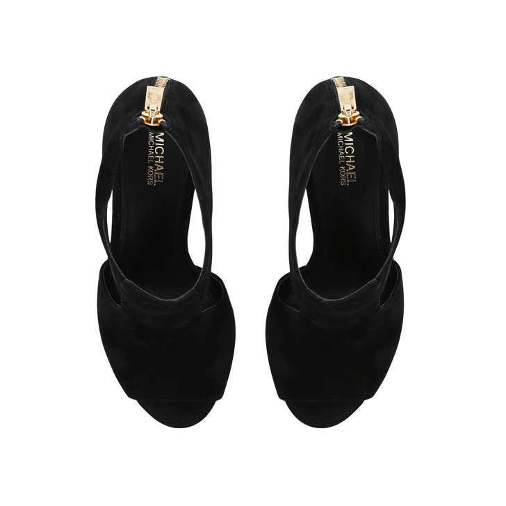 06a671839a Paloma Platform Black Suede Block Heel Sandals By Michael Michael Kors |  Kurt Geiger