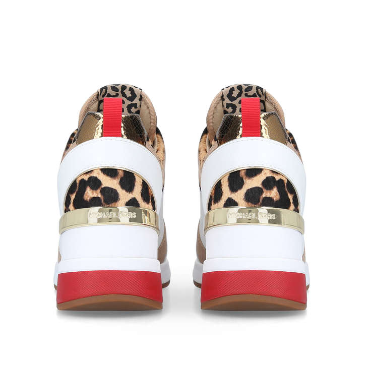 a99c66e6a575 Georgie Trainer White And Leopard Print Low Top Trainers By Michael Michael  Kors
