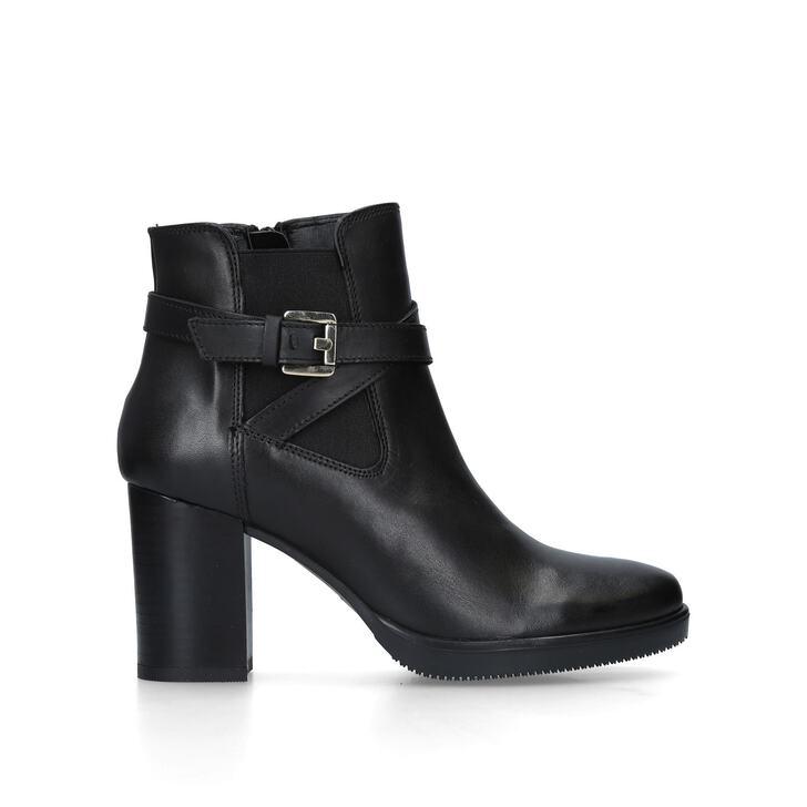 SILVER Black Leather Block Heel Ankle