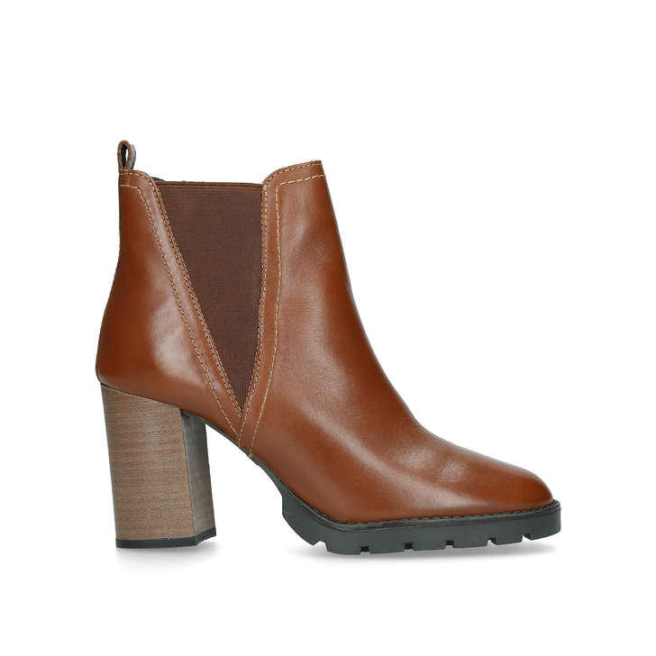 7b300dd1ee7 Galorevia Tan Leather Block Heel Ankle Boots By Aldo