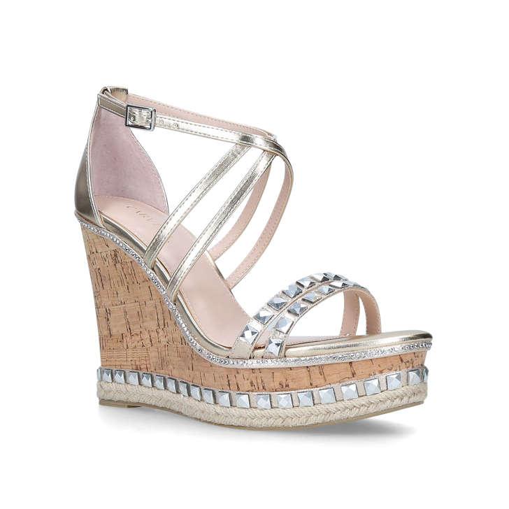 33e4dc34bca Grab Gold Embellished High Heel Wedge Sandals By Carvela