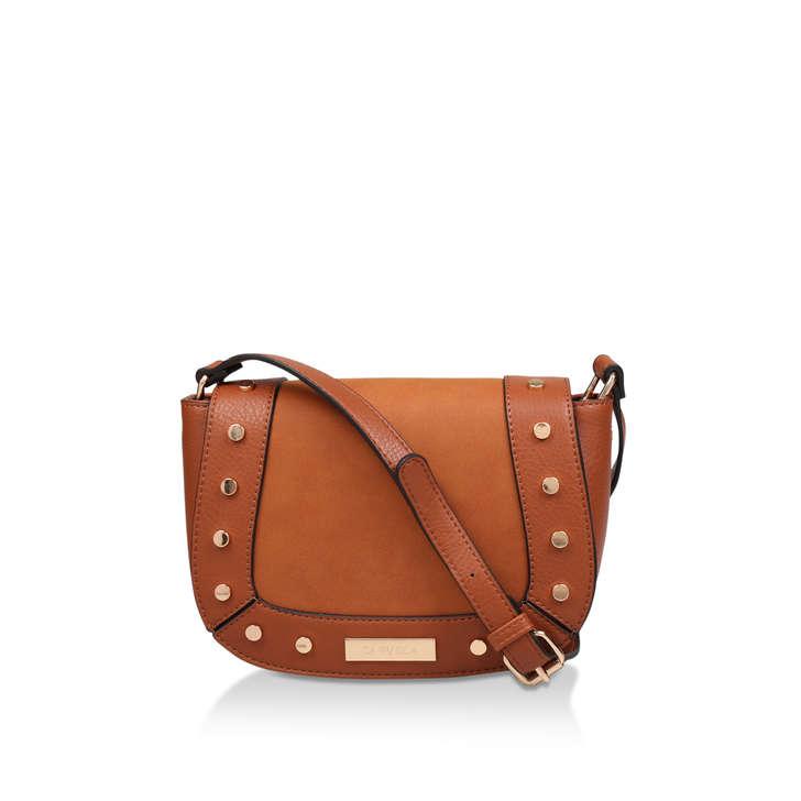 e699bf655dab Connie Studded Saddle Bag Tan Studded Cross Body Bag By Carvela ...