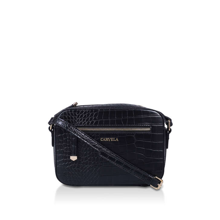 DAISY XBODY BAG Black Croc Cross Body Bag by CARVELA   Kurt
