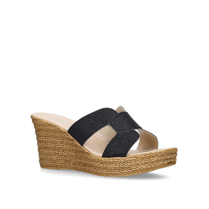 5d14be494a34 STACIE Black Wedge Slip On Heeled Sandals by CARVELA COMFORT