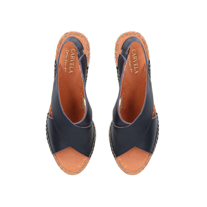 23c2b5dab809 Shakira Navy Espadrille Wedge Sandals By Carvela Comfort