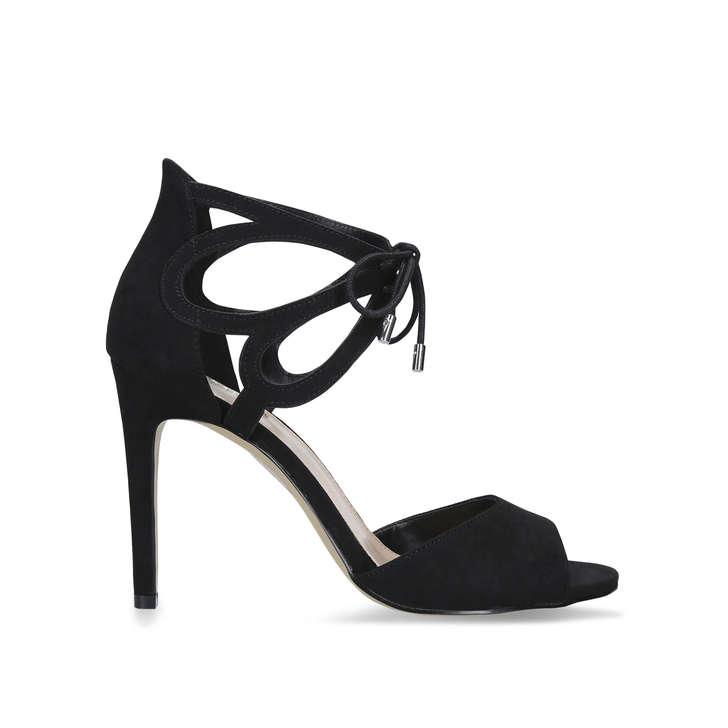 2ad9a136a7 Kali Black Stiletto Heel Lace Tie Sandals By Carvela | Kurt Geiger