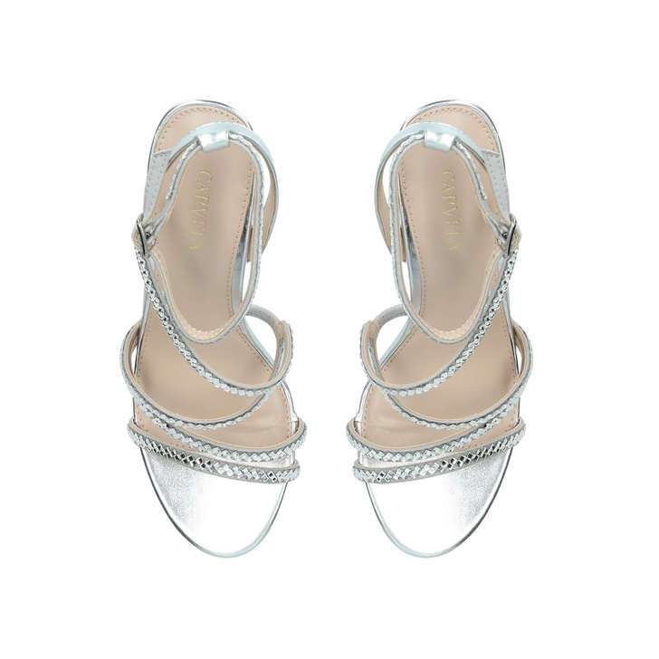 521696b9711 Liberty Silver Embellished Stiletto Heel Strappy Sandals By Carvela ...