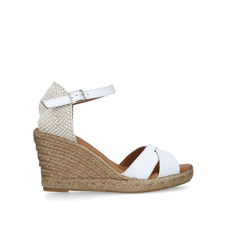 492bff669001 Leona White Espadrille Wedge Sandals By Kurt Geiger London
