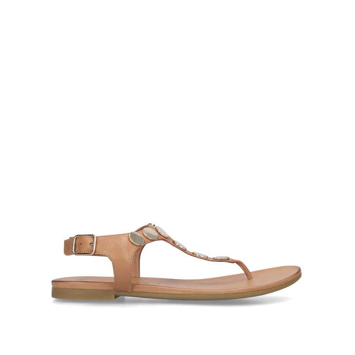 MADDIE Tan Studded Flat Sandals by KURT