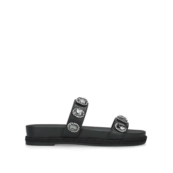 a24d957c8 Maiden Black Leather Embellished Flat Sandals By Kurt Geiger London | Kurt  Geiger